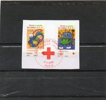FRANCE   2 Timbres Lettre Prioritaire 20 G    2008   Y&T: 4306 Et 4307   Croix Rouge     Sur Fragment Oblitérés - Red Cross