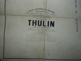 Carte Toilée Atlas Cadastral Popp Commune De Thulin - Situation Du Village établie Entre 1842 Et 1879 - Cartes Géographiques