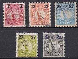 S054 – SUEDE – SWEDEN – 1918-19 – KING GUSTAV V Overprinted – Y&T # 106-111 USED - Oblitérés