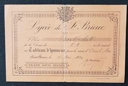 LYCEE De ST BRIEUC  - TABLEAU D'HONNEUR - 1914 - Diploma & School Reports