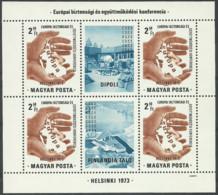 HUNGARY 1973 Year Mint Block MNH(**) EUROPA Helsinki '73 - Blokken & Velletjes