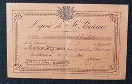 LYCEE De ST BRIEUC  - TABLEAU D'HONNEUR - 1915 - Diploma & School Reports