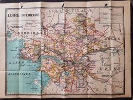 CARTE GEOGRAPHIQUE De LA LOIRE-INFERIEURE (Doc Scolaire) - Edit A. LESOT - Format 72x52 (Légères Déchirures Sur Le Haut) - Geographical Maps