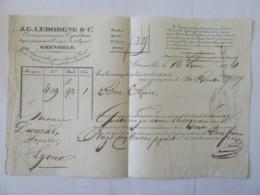 Document D'Expédition Par Voiturier - J.G. LEBORGNE & CIE GRENOBLE - Roulage Accéléré Pour Lyon & Paris - Daté 1834 - Historical Documents