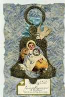JOYEUX NOEL - Cloche Avec Jésus Dans La Crèche  - Découpis - Christmas