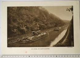 IMAGE IMPRIMEE 20x29cm, Canal De Saint-Quentin, Tranchée Du Souterrain De Riqueval, TOUEUR ELECTRIQUE, Péniches - Boats