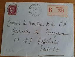 SAINTES - Recommandé - 4 Juin 1941 - Charente Inférieure - Cérès YT 376 - Marcophilie (Lettres)