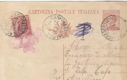 1925. Annullo Ambulante CAMPOBASSO  ISERNIA,  Su Cartolina Postale Con Testo. Segno Di Tassa T, Cancellato - 1900-44 Vittorio Emanuele III
