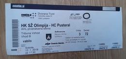 Ice Hockey Ticket AHL League 2018/2019  HK SZ Olimpija (Slovenia) : HC Pustertal (Italy) 12.1.2019 - Tickets & Toegangskaarten