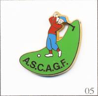 Pin's Sport - Golf / ASC AGF (Association Sportive & Culturelle Des Assurances AGF). Est. Plessis. Zamac. T710-05 - Golf