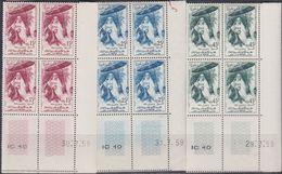 Maroc N° 390 / 92 XX  50è Anniversaire Du Roi, Les 3 Valeurs En Bloc De 4 Coin Daté, Sans Charnière, TB - Marocco (1956-...)