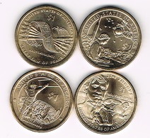 "Set Of 4 UNC 1 Dollar ""Native American Dollar"" - Émissions Fédérales"