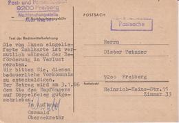 DDR, Karte Post- Und Fernmeldeamt Freberg - Nachforschungsstelle, 1986 - Briefe U. Dokumente