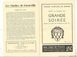 JC,programme,théatre Municipal De Rennes,Grande Soirée Au Profit Des Prisonniers Du 241 E R.I ,,1942, Frais Fr 1.75 E - Programas