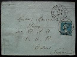 Civray Sur Cher 1926 (Indre Et Loire) Cachet Tireté X 2 Sur Lettre Pour Poitiers - Postmark Collection (Covers)