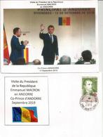 Visite Du President Macron,Co-Prince D'Andorre, Septembre 2019.Napoléon.1er Co-Prince 1806 Au Dos, Avec Cachet Andorre - Andorre Français