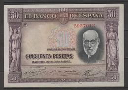 ESPÑA BILLETE ESPAÑOL 50 PESETAS 22 JULIO DE AÑO 1935 MUY BIEN CONSERVADO PLANCHA -(C.B.) - [ 1] …-1931 : Prime Banconote (Banco De España)