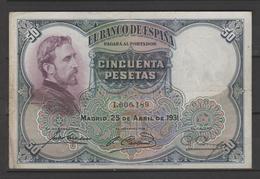 ESPÑA BILLETE ESPAÑOL 50 PESETAS 25.04.1931 MUY BIEN CONSERVADO(C.B.) - [ 1] …-1931 : Prime Banconote (Banco De España)