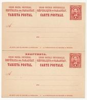 PARAGUAY - Entier Carte Postale Double Avec Réponse Payée 4 Centavos - Paraguay