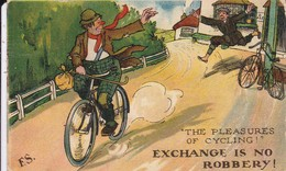 """Thèmes > Humour Anglais Illustrateur E S """"  The Pleasures Of Cycling Exchange Is No Robbery """" - Humor"""