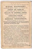 Dp. 5 Oorlogslachtoffers. Dobbelaere M. De Neels J. Beernaert M. Four A.Temmerman E. Vliegeraanval Te Meirelbeke 1918 - Religion & Esotericism