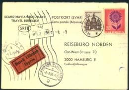 """1965, Vorfrankierte Eilboten-Antwortkarte Ab """"MALMÖ"""" - [7] République Fédérale"""
