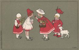 Pauli EBNER - Quatre Enfants Avec Un Mouton (fond Vert) - Ebner, Pauli