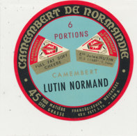 X 337 / ETIQUETTE FROMAGE  CAMEMBERT   LUTIN  NORMAND  6 PORTIONS   JULES HUTIN CONDE SUR SARTHE - Fromage
