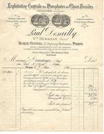 2 Factures 1894 / 75 PARIS / 08 GRANDPRE / Marne, Meuse,Somme / P. DESAILLY / Centrale Des Phosphates De Chaux Fossiles - 1800 – 1899