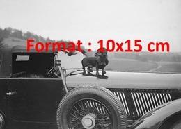 Reproduction D'une Photographie Ancienne D'un Chien Teckel Sur Le Long Capot D'un Belle Automobile En 1930 - Reproductions