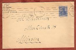 Brief, Germania, Band-MS Striche ?, Nach Meissen 1919 (91330) - Briefe U. Dokumente