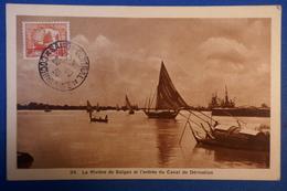 A28 INDOCHINE CARTE 1936 SAIGON + AFFRANCHISSEMENT INTERESSANT - Covers & Documents