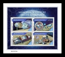 Maldives 2020 Mih. 8893/96 Space. Memorial Sculpture Fallen Astronaut On The Moon MNH ** - Maldives (1965-...)