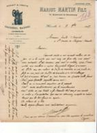 CHAUDIERES MACHINES LOCOMOBILES MARIUS MARTIN à MARSEILLE  ......... CORRESPONDANCE COMMERCIALE DE 1907 - Automobilismo