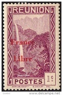 Réunion N° 218 **  Vue -> Bras Des Demoiselles - Emission Surchargée France Libre - Reunion Island (1852-1975)