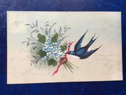 """Cpa--créateur--""""Hirondelle Avec Morceau De Ruban-fleurs""""-(1211)-Handpainted-mica - Other"""