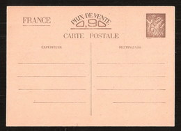 France Entier Postal Iris Sans Valeur CP1 + Pétain 512 CP3 Neuf Sans Charnière ** MNH - Entiers Postaux
