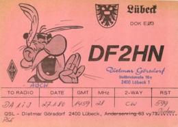 ASTERIX QSL DIETMAR GORSDORF  A LUBECK FORMAT 14 X 10 CM - Tickets - Vouchers