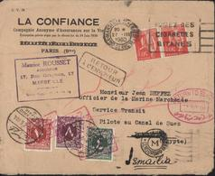 France Pour Port Saïd Barré Ismailia Manuscrit Cachet Censorship M YT France 283 X2 Taxe Egypte YT 31 34 35 - Storia Postale