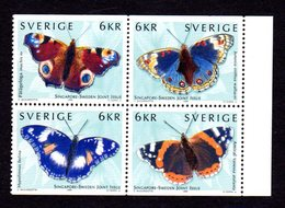 SUEDE 1999 - YT 2107/2110 - Facit 2154/2157 - NEUFS ** LUXE/ MNH - Série Complète - Faune, Papillons - Neufs