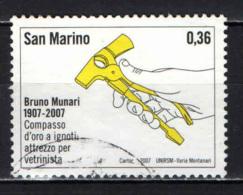 SAN MARINO - 2007 - ATTREZZO PER VETRINISTA DI BRUNO MUNARI - USATO - Oblitérés