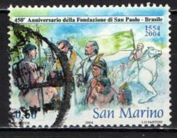 SAN MARINO - 2004 - 450° ANNIVERSARIO DELAL FONDAZIONE DI SAN PAOLO DEL BRASILE - USATO - Oblitérés