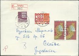Denmark Registered Lettre/Letter Lyngby Via Yugoslavia 1970.nice Stamps Motive - Lettres & Documents