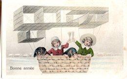 CPA - Bonne Année  - Enfants Dans Une Nacelle D'avion   - écrite - New Year
