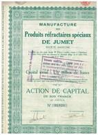 Titre Ancien - Manufacture De Produits Réfractaires Spéciaux De Jumet - Société Anonyme  - Titre De 1924 - - Industrie