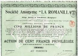 """Titre Ancien  - Société Anonyme  - """"La Romanilla"""" - Titre De 1920 - - Mines"""