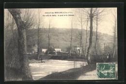 CPA Jailly-les-Moulins, Un Coin De Jailly, Le Pont Et Le Chateau - France