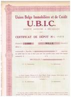 Titre Ancien - Union Belge Immobilière Et De Crédit  - Titre Uncirculed - - Industrie