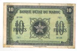 Morocco, 10 Fr. 1943, VF, Short Snorter Note. - Marokko