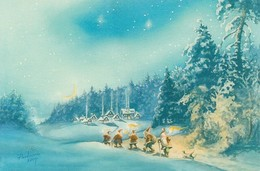Gnomes - Brownies - Elves Walking In Winter Landscape - Raimo Partanen - Double Card - Christmas